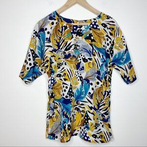 Nicola Floral Short Sleeve Blouse | 2X